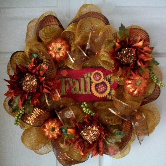 SALE...SALE...15.00 OFF...Fall Deco Mesh Wreath