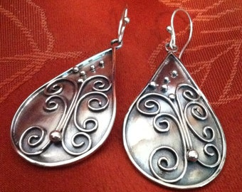 Silver Spiral Earrings-Handmade-Dangling Earrings-Butterfly Earrings-Silver Butterfly Earrings-Handcrafted-Butterfly Jewelry
