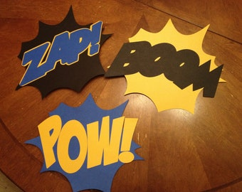 Batman/Superhero Fight Signs- Zap, Boom, Pow