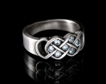 Celtic White Saphire Engagement Ring, Infinity Knot Wedding Ring, 925 Sterling Silver Alternative Wedding Band,  Made in Your Size CR-771