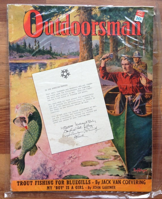 Vintage August 1945 Outdoorsman Magazine Hunting Fishing Walleye Dog Guns