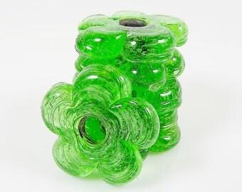 6 Large Chunky Flower Artisan Handmade Recycled Green Glass Beads - 22mm