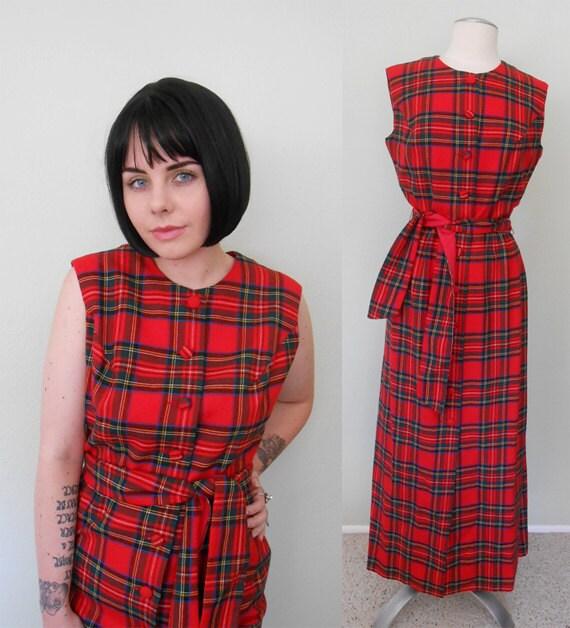 Vintage 1970's Dress/ Maxi Dress/ Wool/ Plaid/ Red/ Twin Peaks/ Holiday Dress/ Aljean/ Large