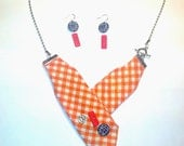 Fabrics (tie) necklace orange, buttons and matching earrings (Sterling Silver)