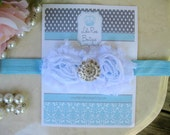 Shabby Chic Infant Headband-White Flowers on Aqua Headband-Infant Hair Bow-Baby Headbands
