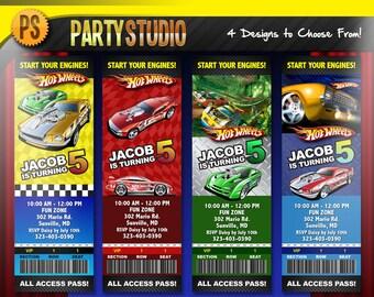 Hot Wheels Birthday Party Ticket (Customizable Printable Invitations)