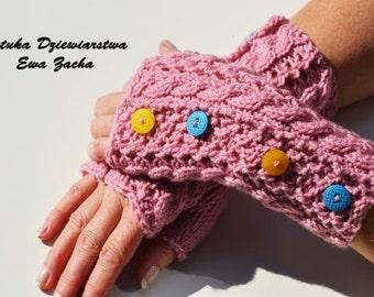Pink Emily's Gloves ,Fingerless Mittens , gloves with buttons , fingerless gloves