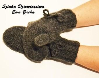 Dark Grey Mittens , Crochet Mittens , gloves in handmade-warmers