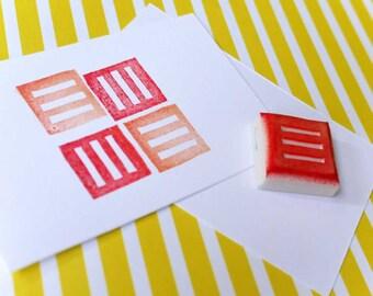 Stripped Square Handcarved Rubber Stamp - Geometric hand carved stamp, strip handmade stamp, shape handcarved stamp