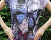 Butterfly Print T-shirt(Violet)