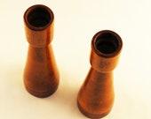 Set of 2 Vintage Wooden Candlesticks