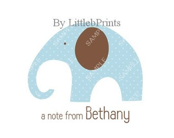 Blue Elephant Note Cards Set of 10 personalized flat or folded cards
