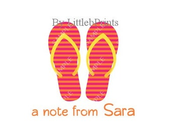 Pink Flipflops Note Cards Set of 10 personalized flat or folded cards