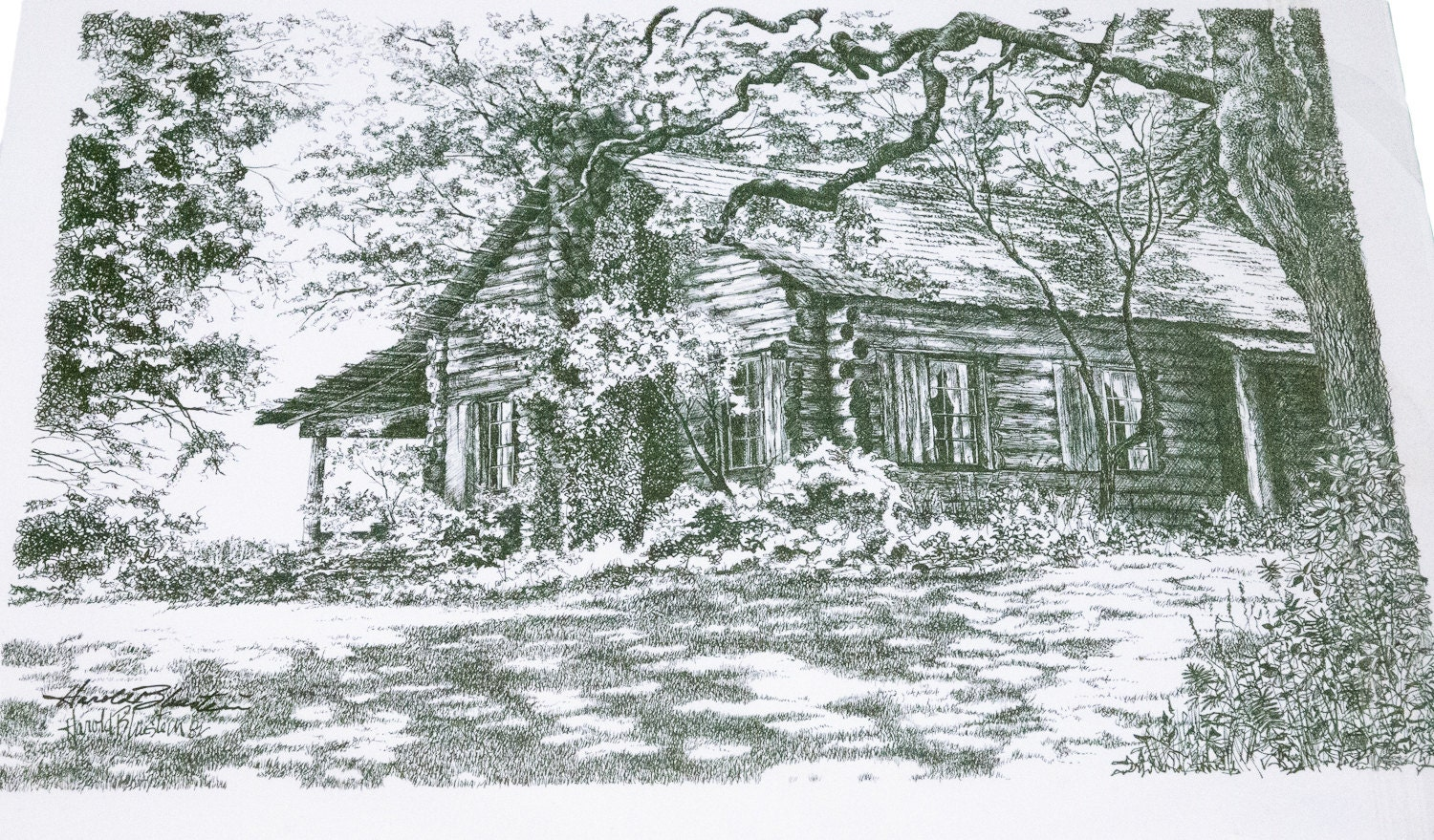 Log Cabin In The Woods Drawing The