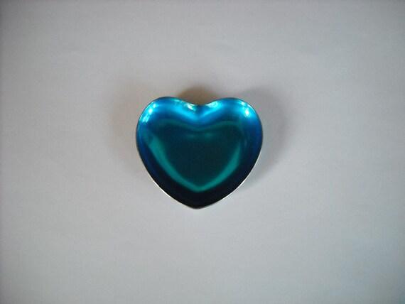 vintage Meka Denmark silverplate blue heart