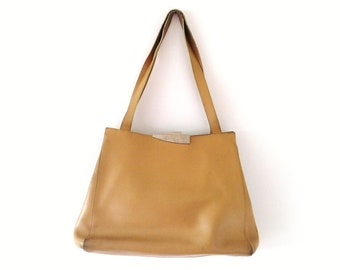 Vintage Cream Genuine Leather Silver Plated Hand Bag and Shoulder Bag // CB Pelletterie - Made in Italy
