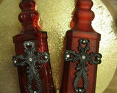 Set of 2 Red Oil and Vinegar Bottles
