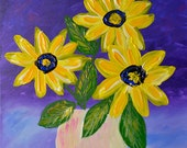 ORIGINAL Abstact Painting Heavy Textured Contemporary ART Landscape FLOWERS Modern Sunflowers by Tanja Bell