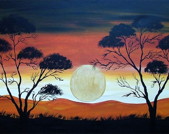 ORIGINAL Abstact  Painting  Contemporary Art   African Sun  Landscape  Trees Modern by Tanja Bell