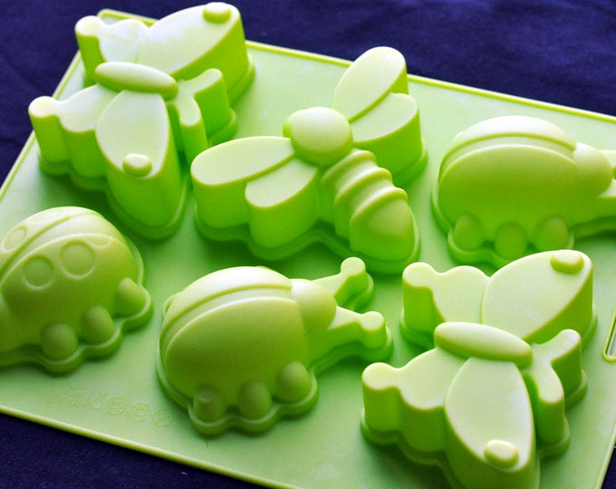 LARGE Silicone Soap Mold Cake Jelly Mold - 6 Insects Butterfly Dragonfly Ladybug