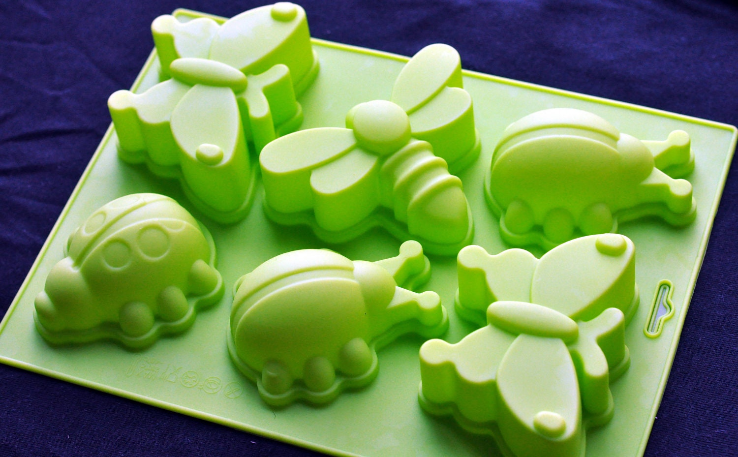 Large 6 Insects Butterfly Dragonfly Ladybug Silicone Soap Mold