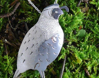 Quail Pin / Pendant Sterling Silver