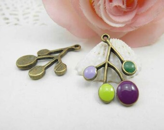 On Sale - 10pcs Antique Brass Enamel Cherry Charm Pendant - Victorian Vintage Style Tree Branches