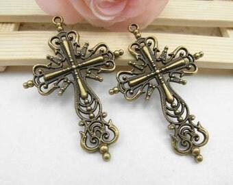 10pcs Antique Brass Cross Charm Pendant Drops - 42x63mm