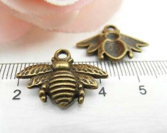 20pcs 16x20mm Cute Antique Brass Bee Charms Pendant