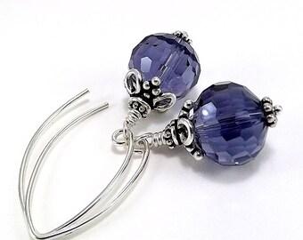 Sterling Silver Earrings Purple Micro Faceted Crystal Rondelles