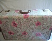 Floral Decoupage 1940s Leather-trimmed Suitcase with Red Satin Interior