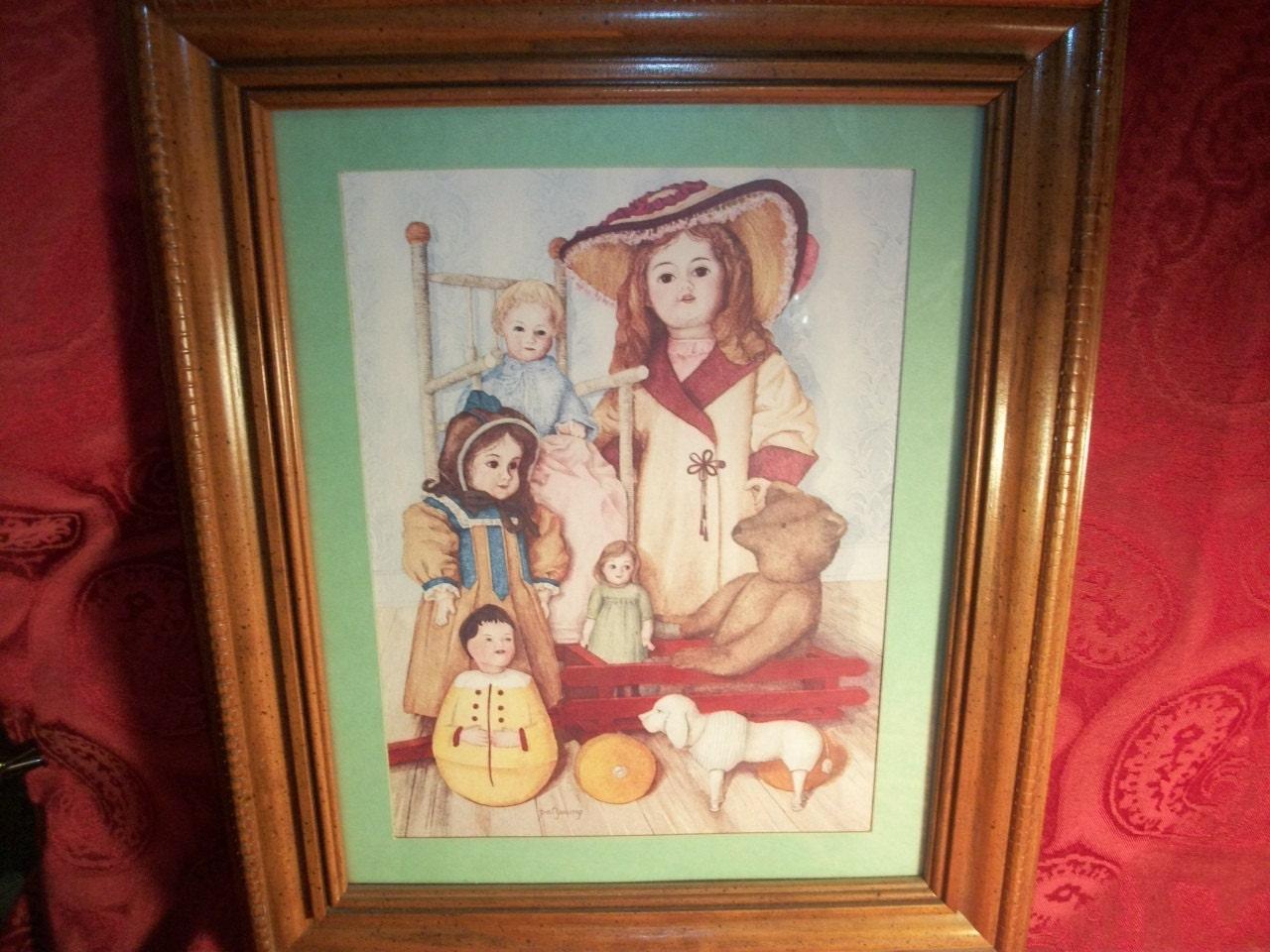 Artist Pat Young Framed Art Print Antique Dolls And Teddy Bear