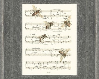 Bee Sheet Music Art Print (#1), Bee Art, Bees, Upcycled Bees Illustration Print