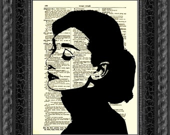 Audrey Hepburn Silhouette, Dictionary Art Print, Audrey Hepburn Print, Home Decor