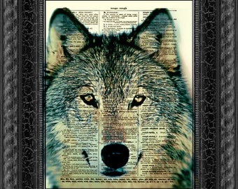 Wolf Dictionary Art Print, Wolf Print, Wall Decor, Art Print, Antique Dictionary Page Art, Home Decor