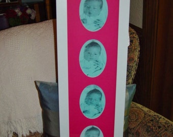 large solid wood 8x30 pink matted baby girl nursery picture photo display frame white finish
