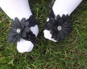 Shoozies, Baby Barefoot Sandals, Baby Shoes, Baby Footwear: Black Floral on Black Lace