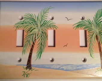 Palm Tree Switchplate Cover Triple Toggle