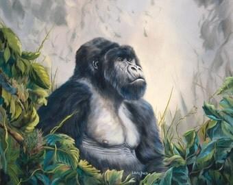 """Gorilla 12"""" x 14"""" Print of gorilla in the jungle."""