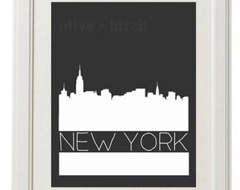 Custom City Skyline Silhouette, City Scape