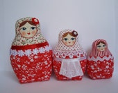 A Set of Red Soft Matryoshkas (cloth Russian babushka dolls)