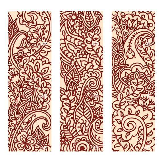 Mehndi/Henna Tall Ornaments - Printable Digital Sheet Henna Designs