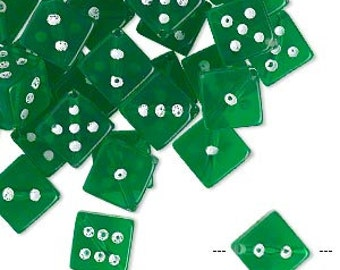 Beads: Large Acrylic Dice Beads, Transparent Green, 11 mm measured hole to hole, 8mm on sides, Set of 10, Las Vegas, Gaming Dice Bead,DIC005