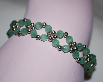 Womens Green Quartz Lattice Bracelet