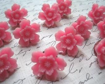 Pretty Cork Board Pins, 12 pc Pink Sakura Thumbtacks, Pink Thumbtacks, Cottage Chic Office Supply, Housewarming Gifts, Hostess Gifts