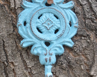 Shabby Chic Iron Wall Hook / Cast Iron Hook / Key Holder / Towel Hook / Aqua Blue or Pick Color / Coat Hook / Jewelry Hanger