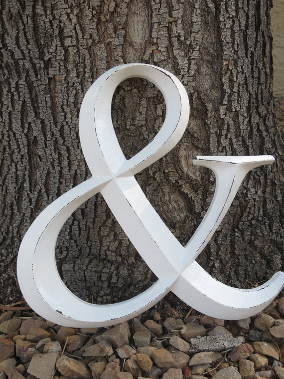 """Ampersand Symbol / Resin """"AND"""" Sign / Antique White or Pick Color/ Wedding Decor/ Office Nursery Mantle Decor/ Large Wall Letter/ Photo Prop"""