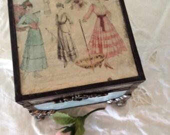 "Stain Glass ""Girlie Girl"" Memory,Jewelry, keepsake, box shabby chic, cottage chic glass box"