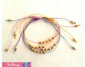 Pastel Wish Bracelet made from Hemp and Gold Czech Crystals