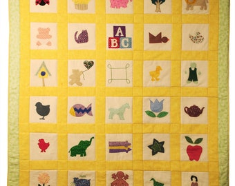 Yellow on Green Baby Quilt